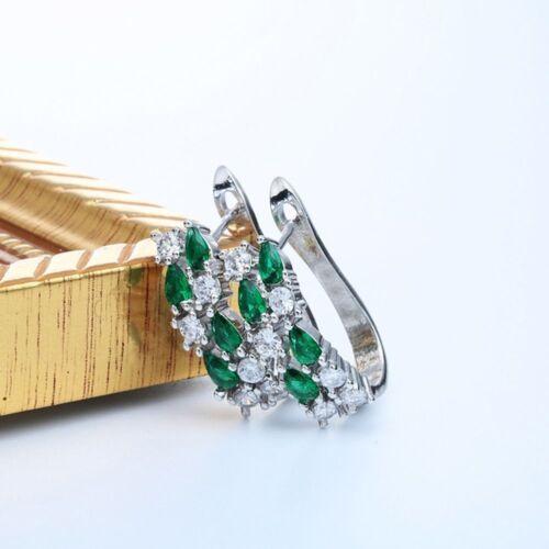 Brillant Plaqué Argent Mariage Bijoux Boucle d/'oreille pour les femmes Gemme Zircon