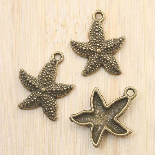 14pcs Antique Bronze Starfish Pendentif G1668