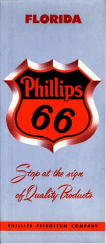 1955 Phillips 66 Road Map Florida NOS