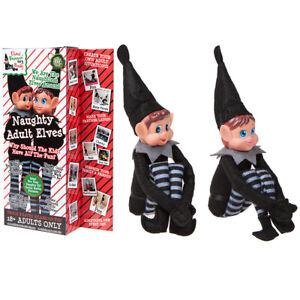 30-5cm-Paquet-De-2-Assis-Noir-Adulte-Lutin-Fille-amp-Garcon-Noel-Coquin-Toys-Shelf