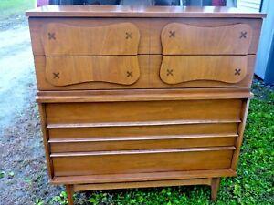 Details about mid century modern Bassett furniture tallboy chest 5 drawer  dresser Saga style