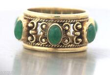 Elegant Antique Victorian 14K Yellow Gold 3.25ctw Jade Jadite Filigree Band Ring