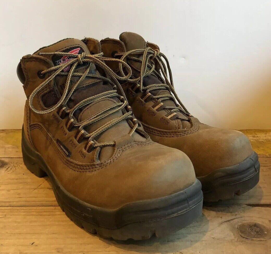 """REDWING Women's 3540 Brown 5"""" King Toe Leather Steel Toe Work Boots Waterproof 6"""