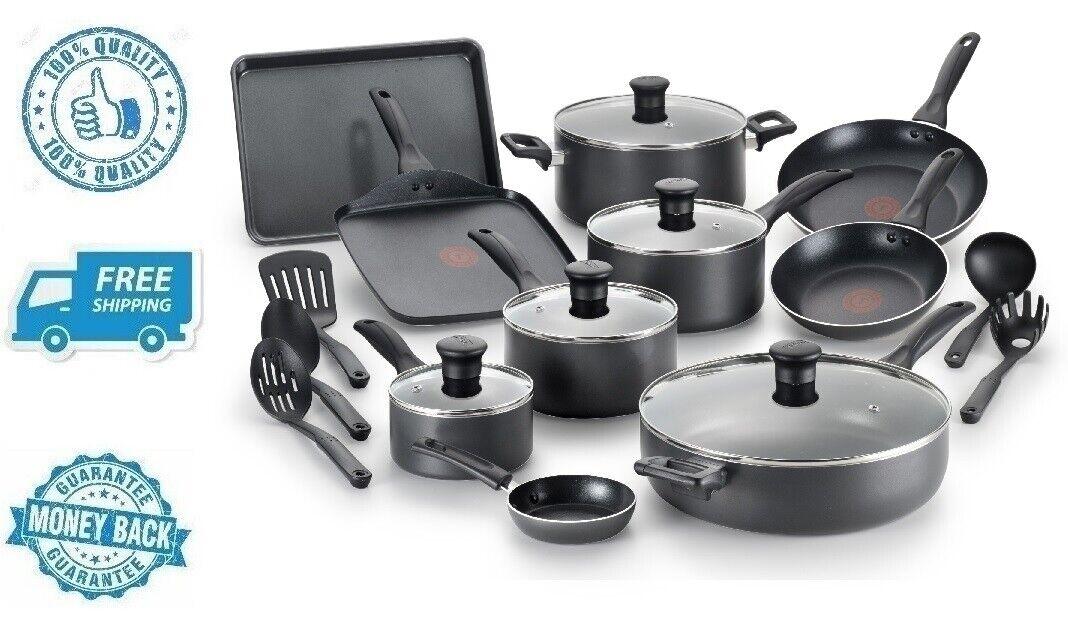 Neuf Noir 20pc Cookware Set antiadhésif poêle poêle marmite casserole Dutch Oven