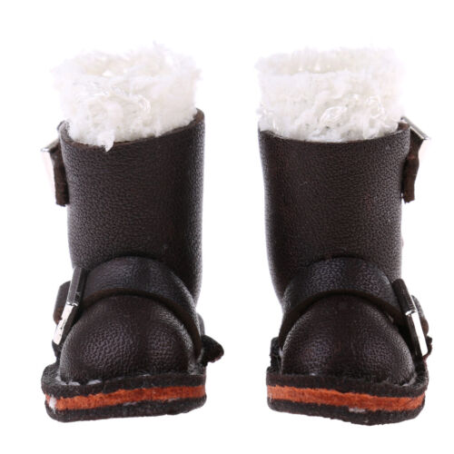 12 Inch Dolls Shoes Black PU Leather Buckle Boots for Blythe Doll Clothing