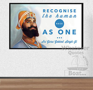 Details about Siri Guru Gobind Singh Ji Quote Print Poster Picture Sikh  Sikhism Life + Frame