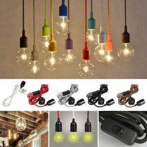 Details About Fabric Cable E27 Uk Plug Lamp Holder Suspended Pendant Light Ceiling Ing Kit
