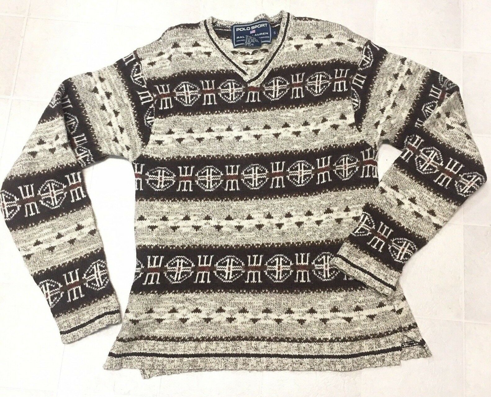 Ralph Lauren Polo Sport Vintage Sweater Aztec Indian Art Weave Linen Wool Silk