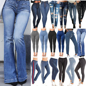 Womens-Plus-Size-High-Waist-Skinny-Stretch-Jeans-Jeggings-Long-Trousers-Pants-US