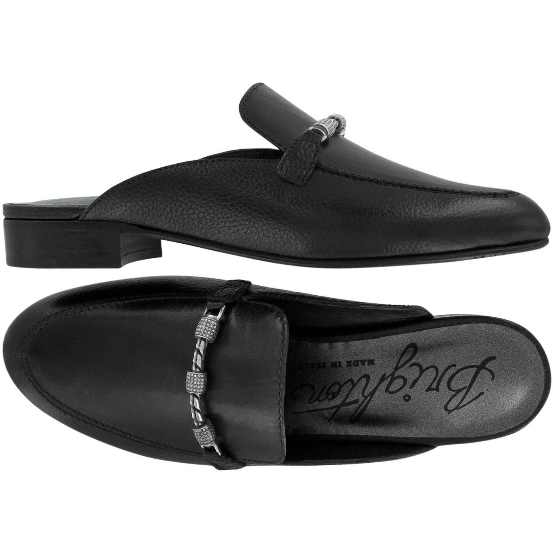 NIB Brighton ICE Black Vachetta Leather Slides Mules Mules Mules with Swarovski Crystals  9M 722129