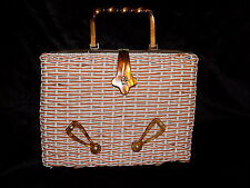 Stunning large 1950s vintage woven orange & white lucite bag