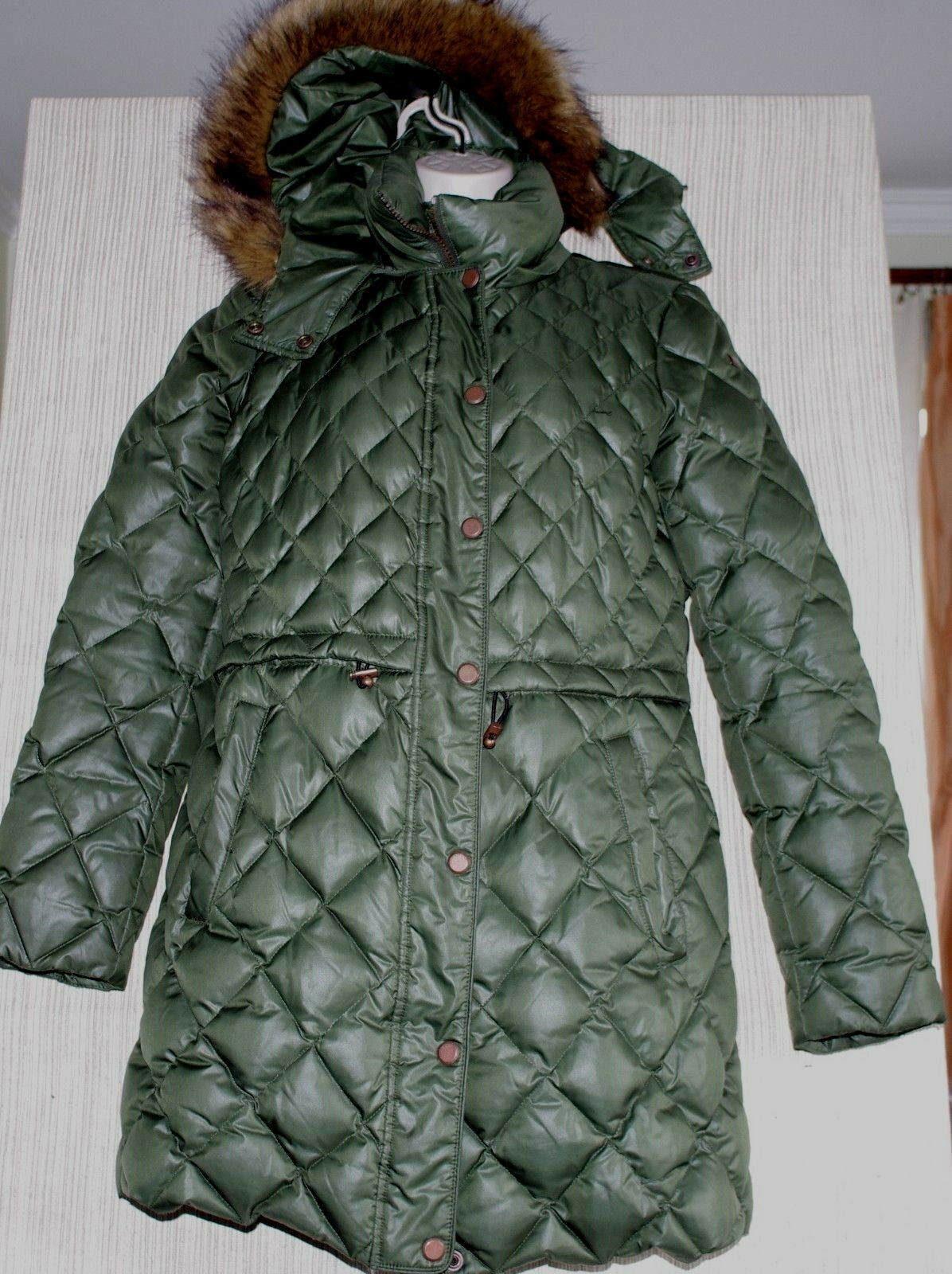 Marc New York Andrew Marc Green Quilted Puffer Down Hooded Coat Women Size M