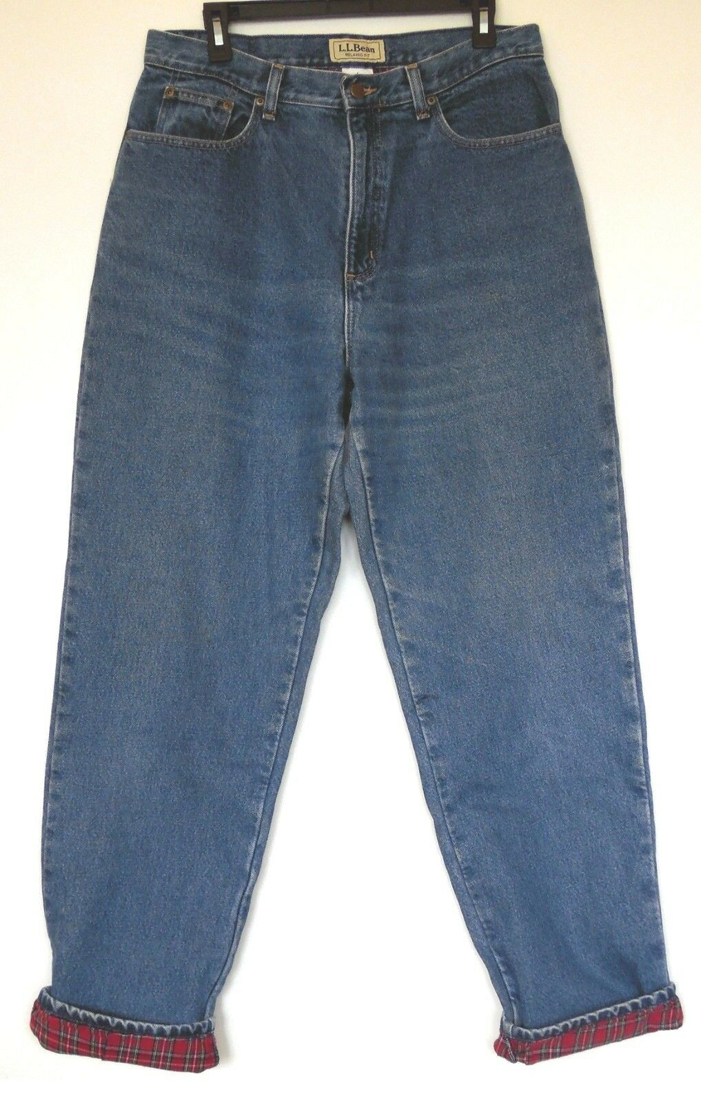 L.L. Bean Relaxed Fit Denim Medium bluee Jeans Lined with Red Plaid Flannel 14 MT