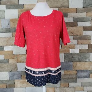 Ann-Taylor-Loft-Women-s-M-Red-Navy-Printed-T-Shirt-Short-Sleeve-Cotton-Top