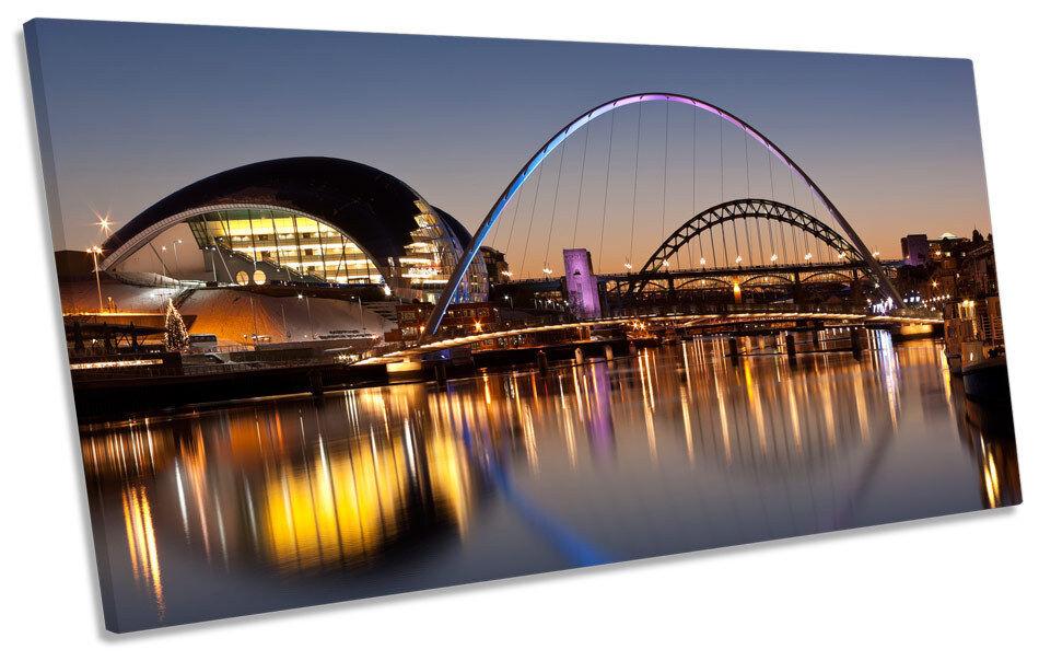 Newcastle Tyne Bridges River Stadt PANORAMIC BOX FRAME CANVAS Kunst Bild