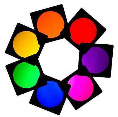 7 X LIGHTING FILTER COLOUR GEL PACK PAR 64 RED GREEN BLUE YELLOW ORANGE MAUVE