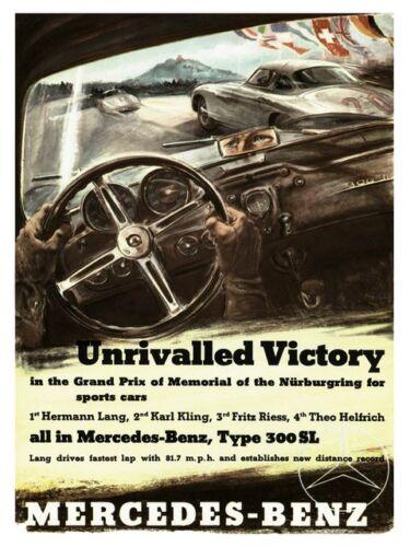 1952 Nürburgring Jubilee Motor racing advert Wall art Poster Reproduction.