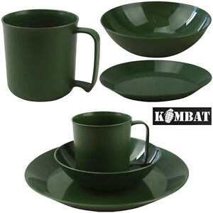 Camping-Cadet-Festival-Green-Plastic-Plate-Bowl-Mug-Army-Combat-Military-Set-New
