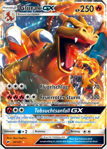 CARTE POKEMON-glurak GX 20//147 HOLO Presque comme neuf allemand