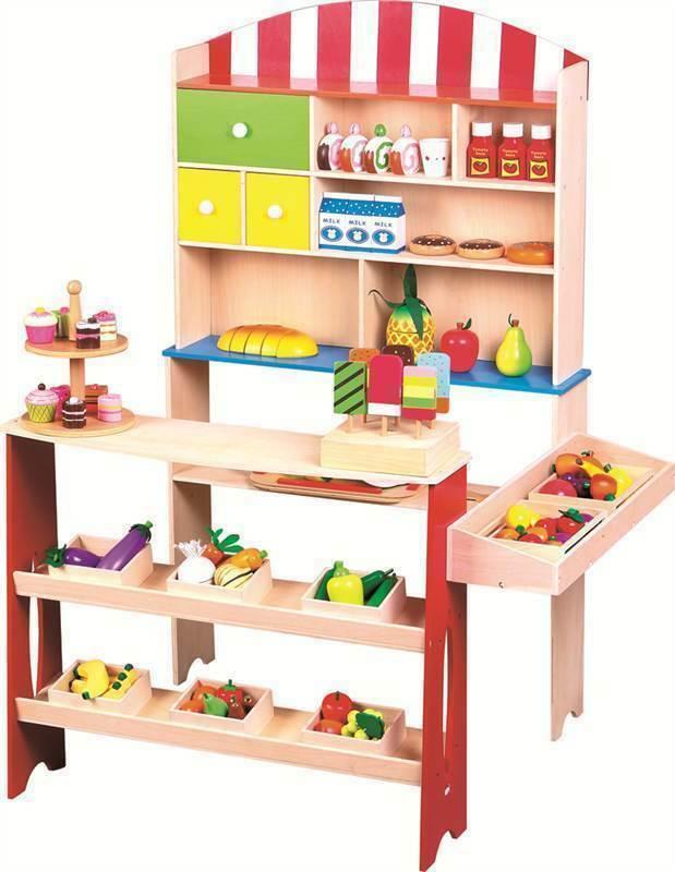 Barn träen Supermarket Corner Shelf Shop Role spela leksak Shopping Stall Gift Ny