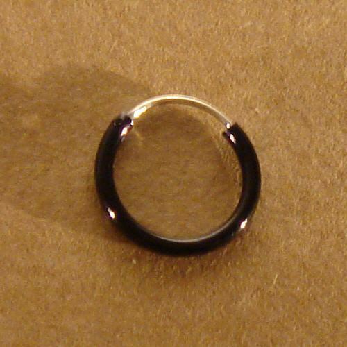 Creole Schwarz 8 mm 925er Silber Symbol Schmuck NEU