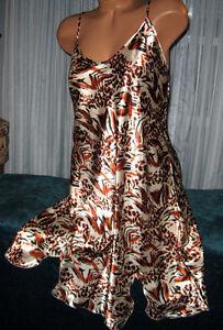 White-Black-Copper-Animal-Chemise-Short-Gown-1X-2X-Plus-Size-Adj-straps