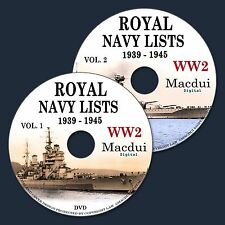 World War 2 WW2 Royal Navy Lists 1939 to 1945 - 59 Vintage e-Books on 2 DVD PDF