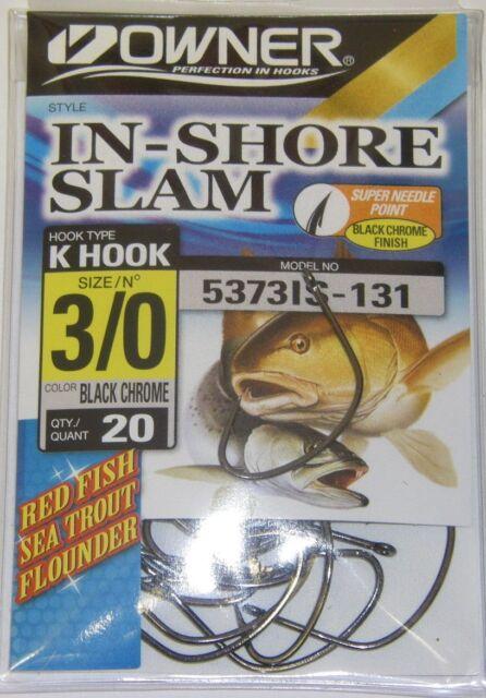 Poisson Rouge Truite de mer Flet Noir Chrome 3//0 Propriétaire 5373IS Inshore Slam Crochets