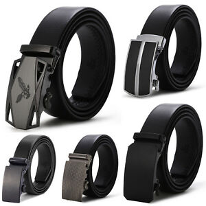 Men-039-s-Dress-Belt-Microfiber-Leather-Exact-Fit-Automatic-Buckle-Ratchet-Belt