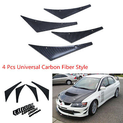 4 Pcs Rubber Carbon Fiber Style Car Front Bumper Fins Lip Canards Splitters Trim