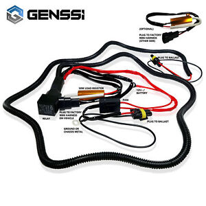 details about 9006 hid relay wiring harness for bi xenon conversion kit 2x 50w resistor  9006 bi xenon wiring harness #10
