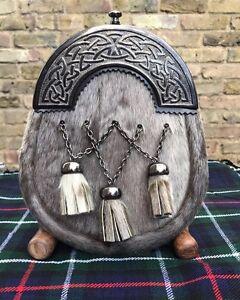 100% De Qualité Scottish Complet Robe Kilt Sporrans Peau De Phoque Celtique Bougie/homme Kilt Sporrans-afficher Le Titre D'origine Retarder La SéNilité