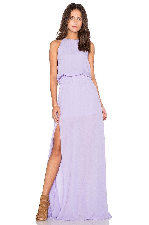 Show Me Your Mumu Halter Heather Maxi Dress Split Lilac Boho Bridesmaid Wedding