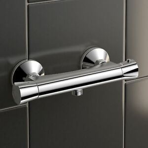 Thermostatic-Bar-Mixer-Brass-Shower-Valve-Only-Exposed-Bottom-Outlet-Chrome