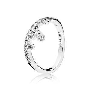 07579ab98 Image is loading NEW-Authentic-Pandora-Chandelier-Droplets-Clear-CZ-Ring-