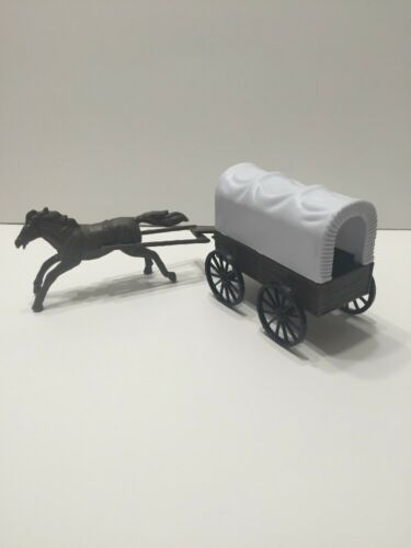 """10 Pieces Cowboys Indians Covered Wagon Plastic Figures 2/"""" Western Play Set New"""