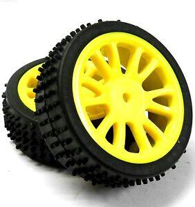 85007-1-16-Escala-Buggy-Ruedas-y-Neumaticos-FRENTE-2-completa-HSP-Amarillo-Plastico-X