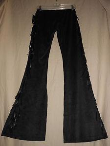 ROCK-47-Wrangler-L-NWT-Black-Faux-Suede-Fringe-Western-Bell-Bottom-Flare-Pants
