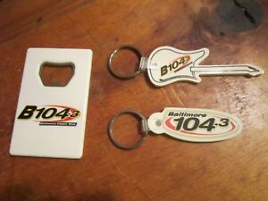 Details about Vintage Baltimore Radio Station B104 3 Promotional Key Rings  & Bottle Opener NEW