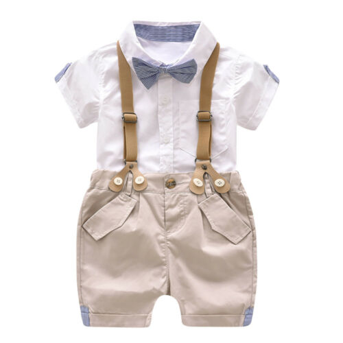 Infant Baby Boy Summer Gentleman Bowtie Short Sleeve Shirt+Overall Shorts Set US
