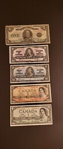 Lot-of-5-Canadian-Banknotes-from-1923-1937-amp-1954-DEVIL-FACE-Notes-Inclusive