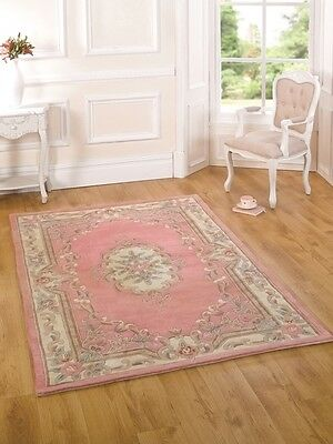New French Shabby Chic Light Pink Floral Rugs 100% Wool Quality Traditional Mats
