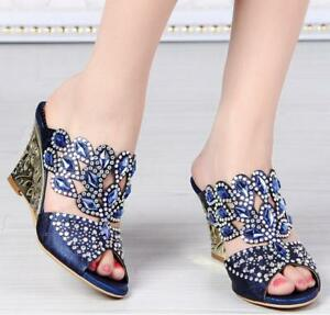 Women-039-s-Rhinestone-Wedge-High-Heel-Wedding-Sandals-Slippers-Peep-Toe-Shoes