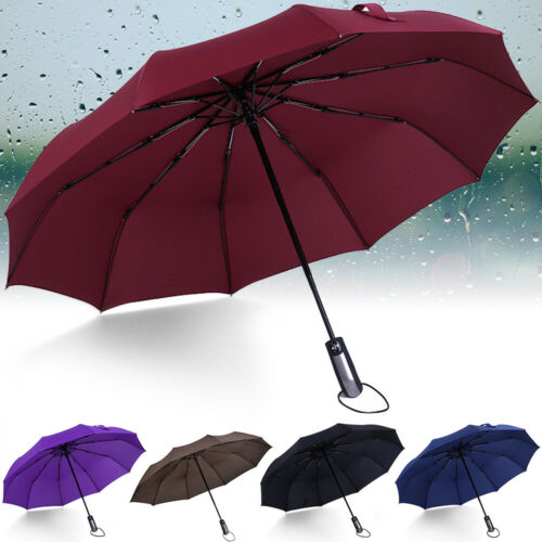 10 Ribs Strong Automatic Open Close Umbrella Folding Compact Windproof Travel UK