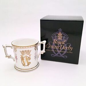 Royal-Crown-Derby-Royal-Wedding-Loving-Cup-Marie-Antoinette-Pattern-New-in-Box