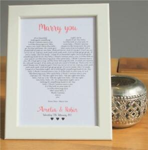 Personalised Our Song First Dance Lyrics Heart Wedding Gift Couples