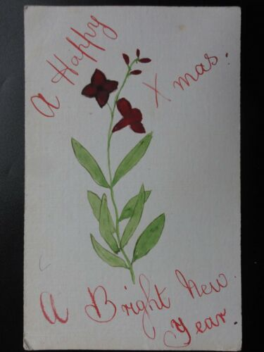 Greetings Hand Painted A HAPPY XMAS' A BRIGHT NEW YEAR Old Postcard