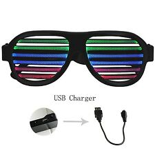 Geree Sound & Music Reattivo Occhiali a LED USB ricaricabile fessurata otturatore Fla.