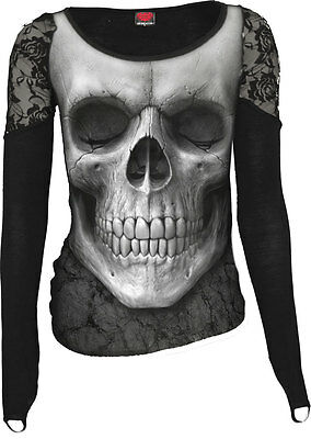 SPIRAL DIRECT SOLEMN SKULL ALLOVER SHOULDER LACE TOP BLACK GOTHIC ROCK