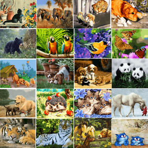 40-50CM-DIY-Acrylic-Paint-By-Number-Kit-Oil-Painting-Wall-Decor-On-Canvas-Animal